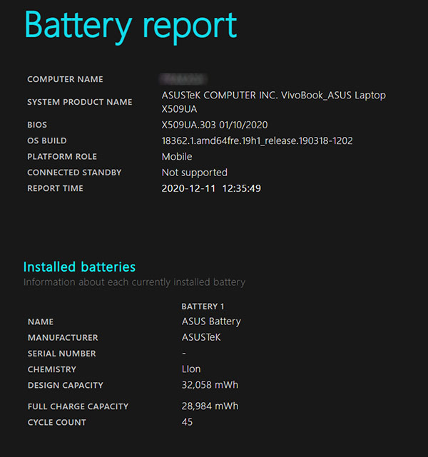Laptop battery Report