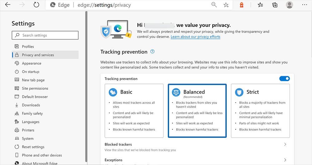 Set up Privacy in the Edge Browser