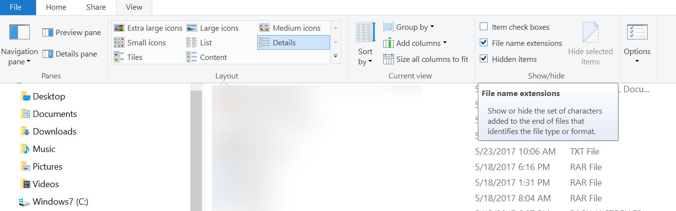 Reveal file name extensions