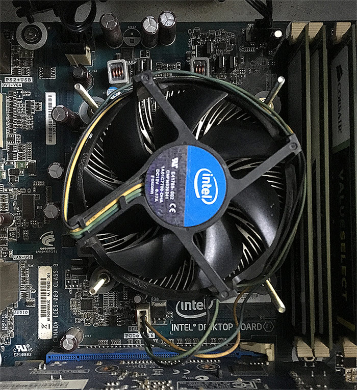 Intel CPU Cooler fitted with Screws and nuts