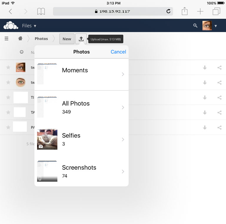 Uploading images to ownCloud from iPad