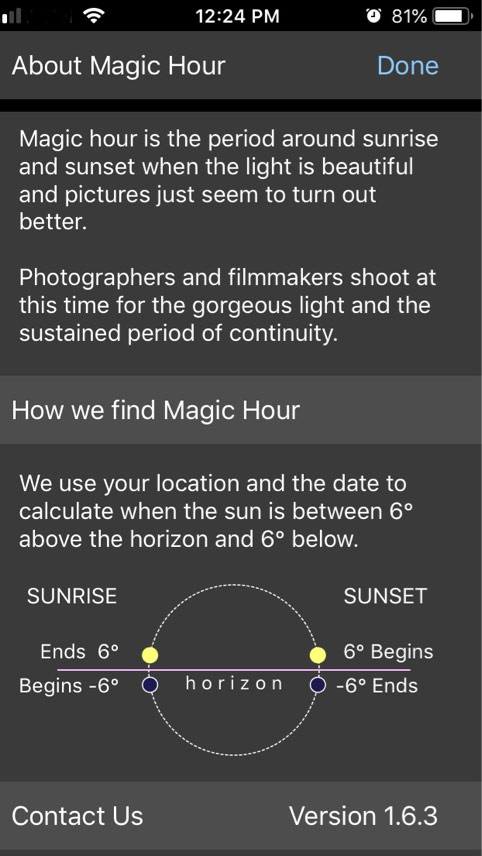 Magic Hour App Help