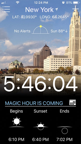 Magic Hour App Screenshot
